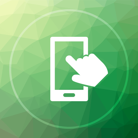 smartphone hand: Smartphone with hand icon. Smartphone with hand website button on green low poly background. Stock Photo