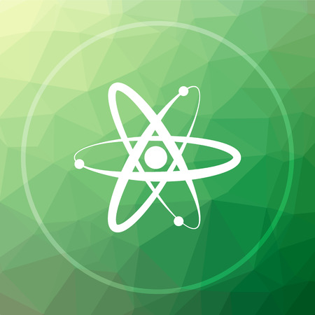 Atoms icon. Atoms website button on green low poly background.