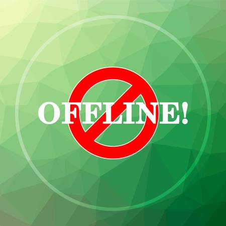 offline: Offline icon. Offline website button on green low poly background.