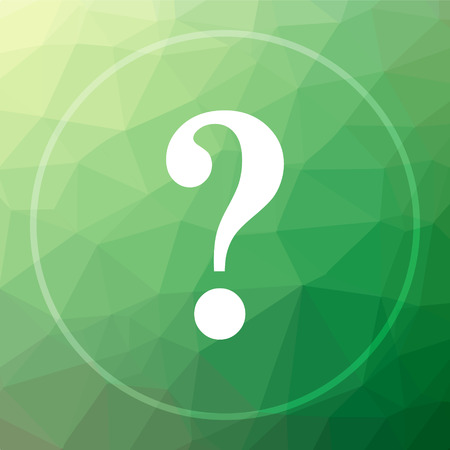 Question mark icon. Question mark website button on green low poly background. Stock Photo