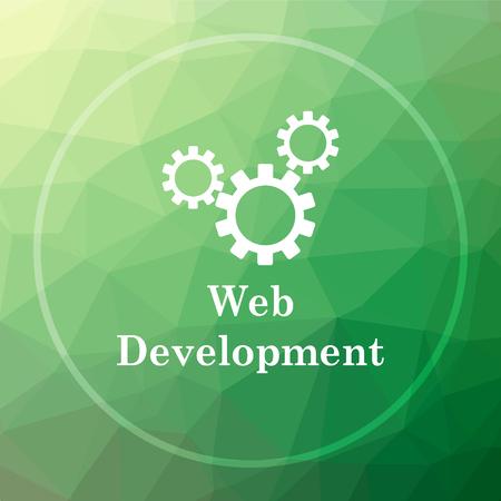 Web development icon. Web development website button on green low poly background. Stock Photo