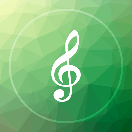Musical note icon. Musical note website button on green low poly background.