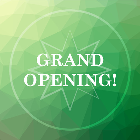 grand sale button: Grand opening icon. Grand opening website button on green low poly background. Stock Photo