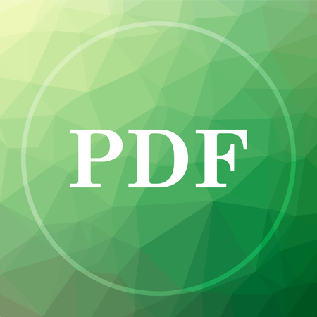bibliography: PDF icon. PDF website button on green low poly background.