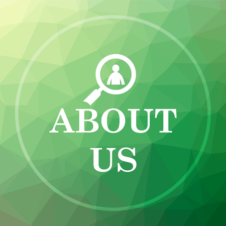 About us icon. About us website button on green low poly background. Stock Photo