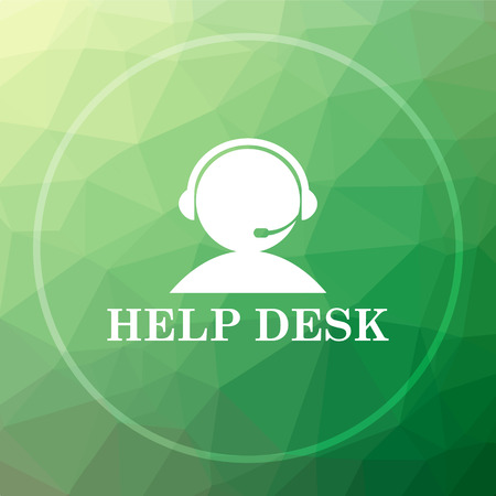 helpdesk: Helpdesk icon. Helpdesk website button on green low poly background.