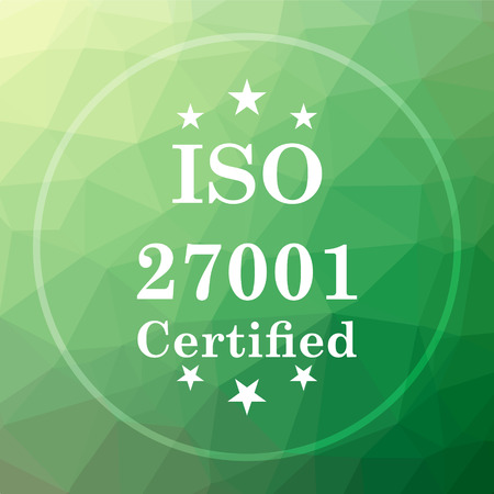 ISO 27001 icon. ISO 27001 website button on green low poly background.
