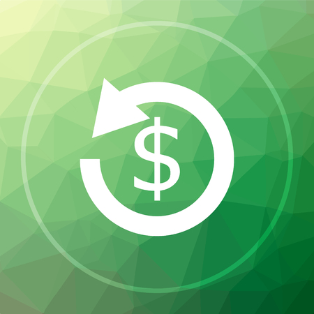 Refund. icon. Refund. website button on green low poly background. Stock Photo