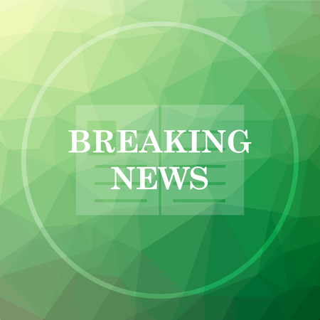 Breaking news icon. Breaking news website button on green low poly background.