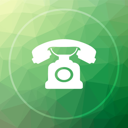 Phone icon. Phone website button on green low poly background.