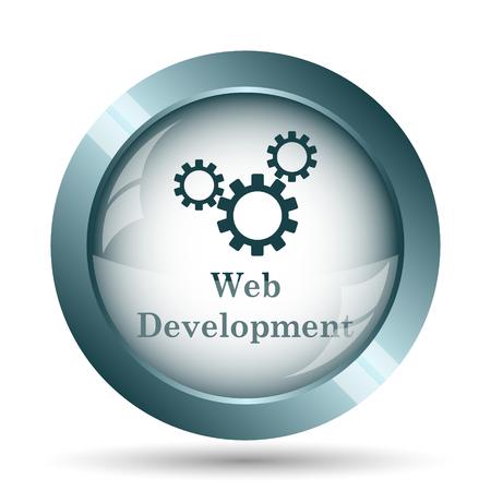 building site: Web development icon. Internet button on white background. Stock Photo