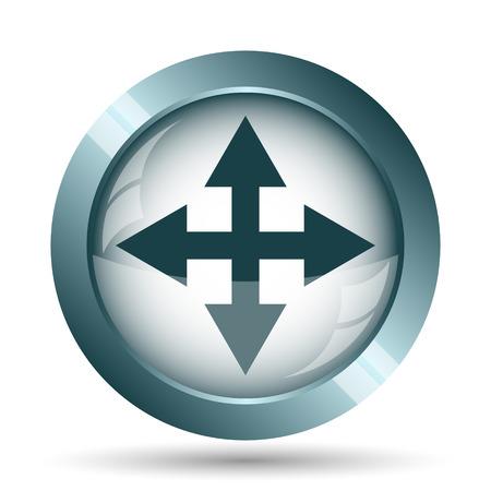 multimedia background: Full screen icon. Internet button on white background. Stock Photo