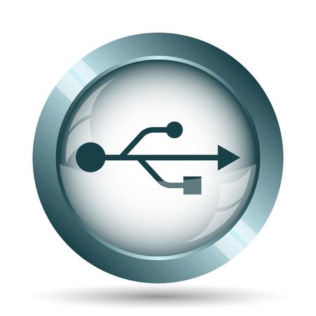 pendrive: USB icon. Internet button on white background. Stock Photo