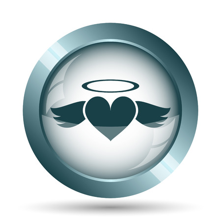 Heart angel icon. Internet button on white background.