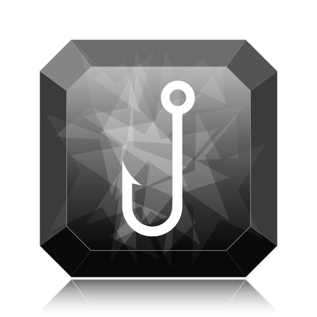 Fish hook icon, black website button on white background.