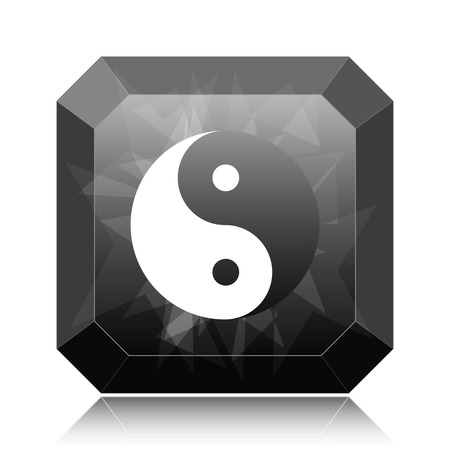 Ying yang icon, black website button on white background.