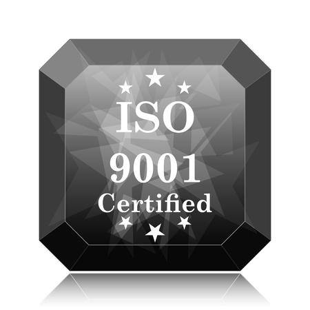 ISO9001 icon, black website button on white background. Stock Photo