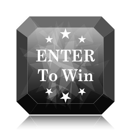 Enter to win icon, black website button on white background.