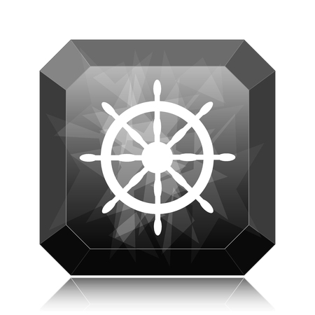 Nautical wheel icon, black website button on white background.