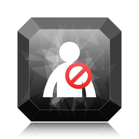 User offline icon, black website button on white background.