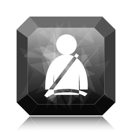 Safety belt icon, black website button on white background. Stock Photo