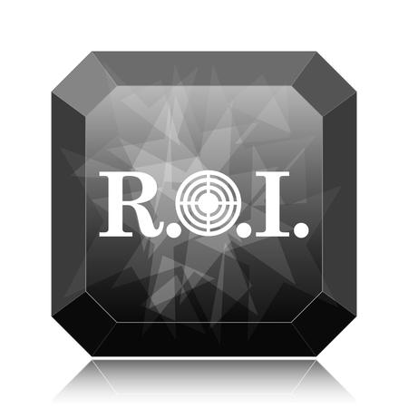 ROI icon, black website button on white background.