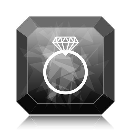 Diamond ring icon, black website button on white background.