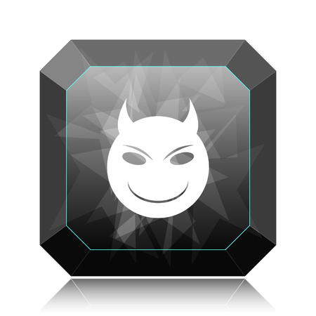 Evil icon, black website button on white background.