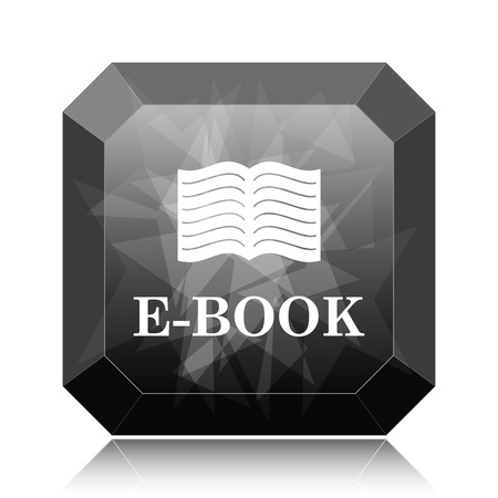 E-book icon, black website button on white background.