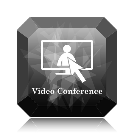 Video conference, online meeting icon, black website button on white background.