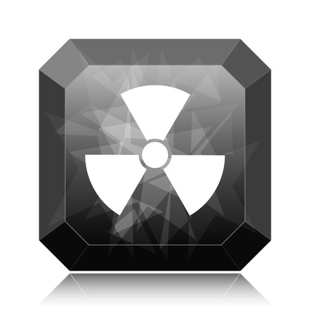 Radiation icon, black website button on white background.