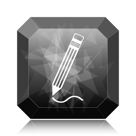 Pen icon, black website button on white background.