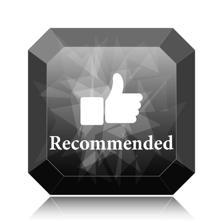 Recommended icon, black website button on white background. Stock Photo