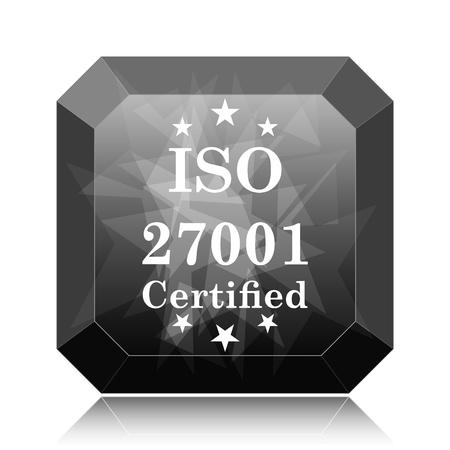 ISO 27001 icon, black website button on white background. Stock Photo