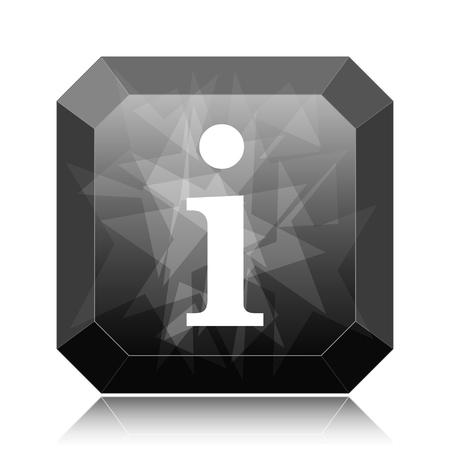 Info icon, black website button on white background. Stock Photo