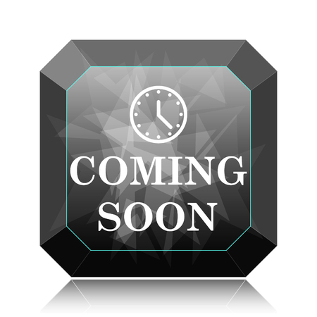 Coming soon icon, black website button on white background.