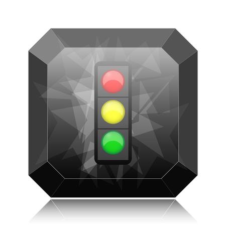 Traffic light icon, black website button on white background. Stock Photo