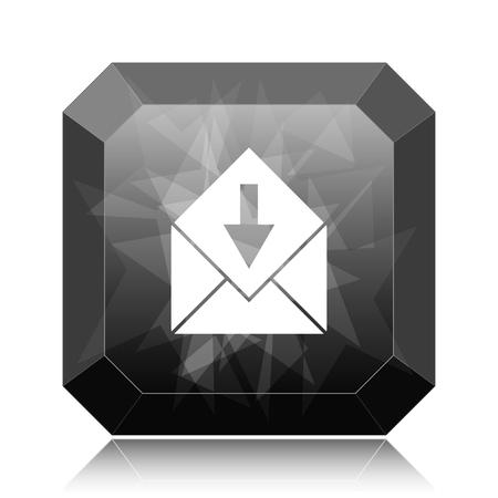 Receive e-mail icon, black website button on white background. Stock Photo