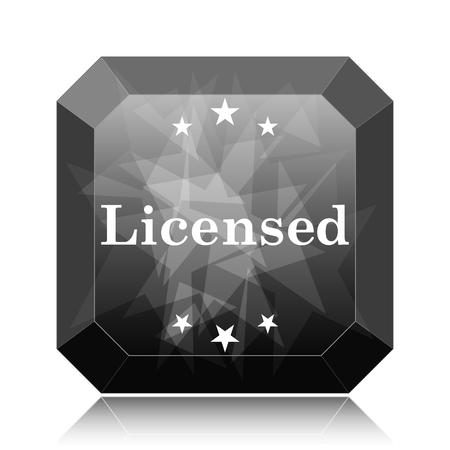 Licensed icon, black website button on white background.