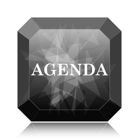 agenda: Agenda icon, black website button on white background.