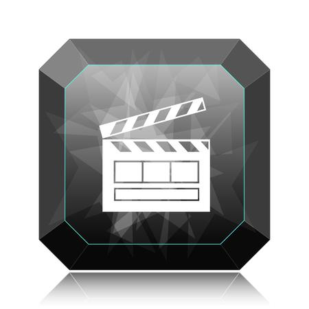 Movie icon, black website button on white background.