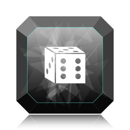 Dice icon, black website button on white background. Stock Photo