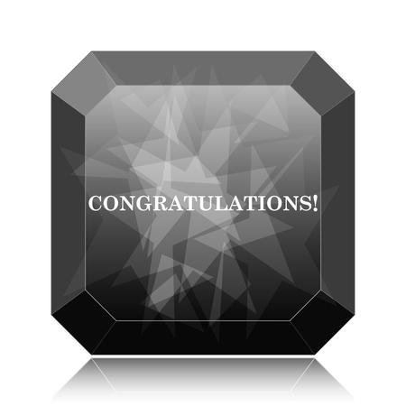 Congratulations icon, black website button on white background.