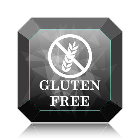 celiac: Gluten free icon, black website button on white background.