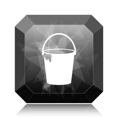 paint container: Bucket icon, black website button on white background.
