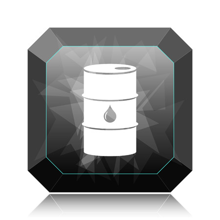 barrell: Oil barrel icon, black website button on white background.