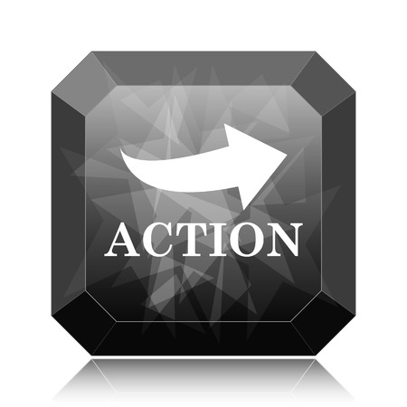 Action icon, black website button on white background.