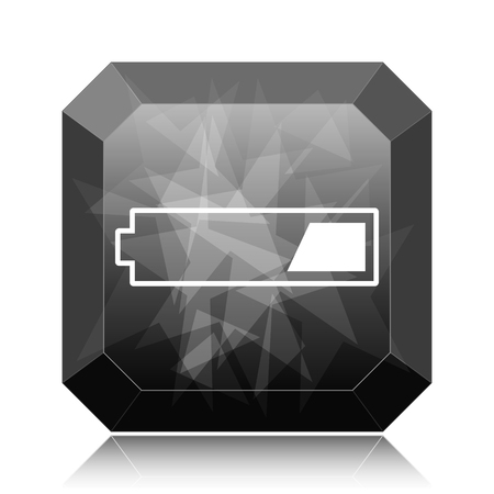 1 third charged battery icon, black website button on white background.