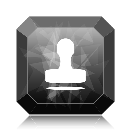 Stamp icon, black website button on white background. Stock Photo