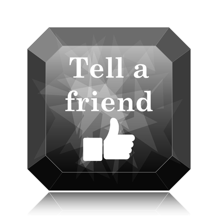 Tell a friend icon, black website button on white background.